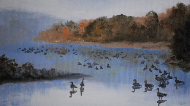 Dec 13: Geese on a Misty River